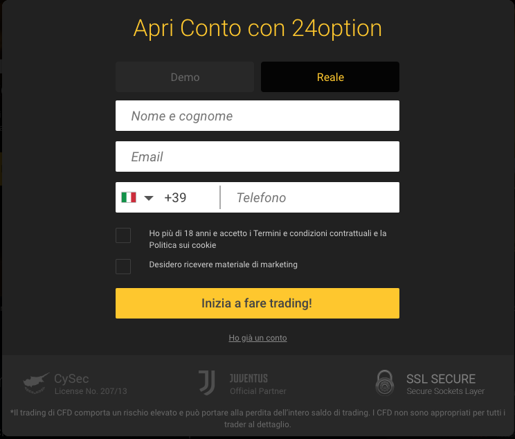 conto demo 24option