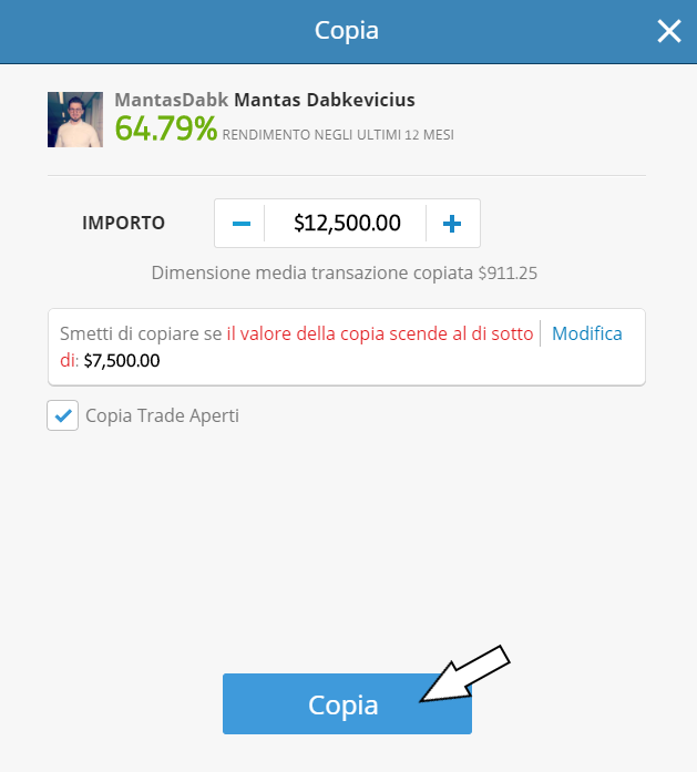 eToro broker. Copia